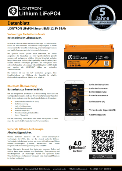 datasheet 12V 55Ah Liontron