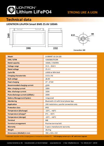 DATASHEET_24V100Ah_EN_Page_2 Datenblatt