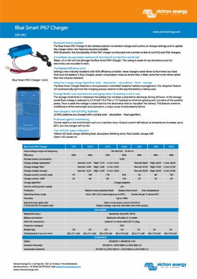 Victron Blue Smart IP67 Ladegerät Datenblatt